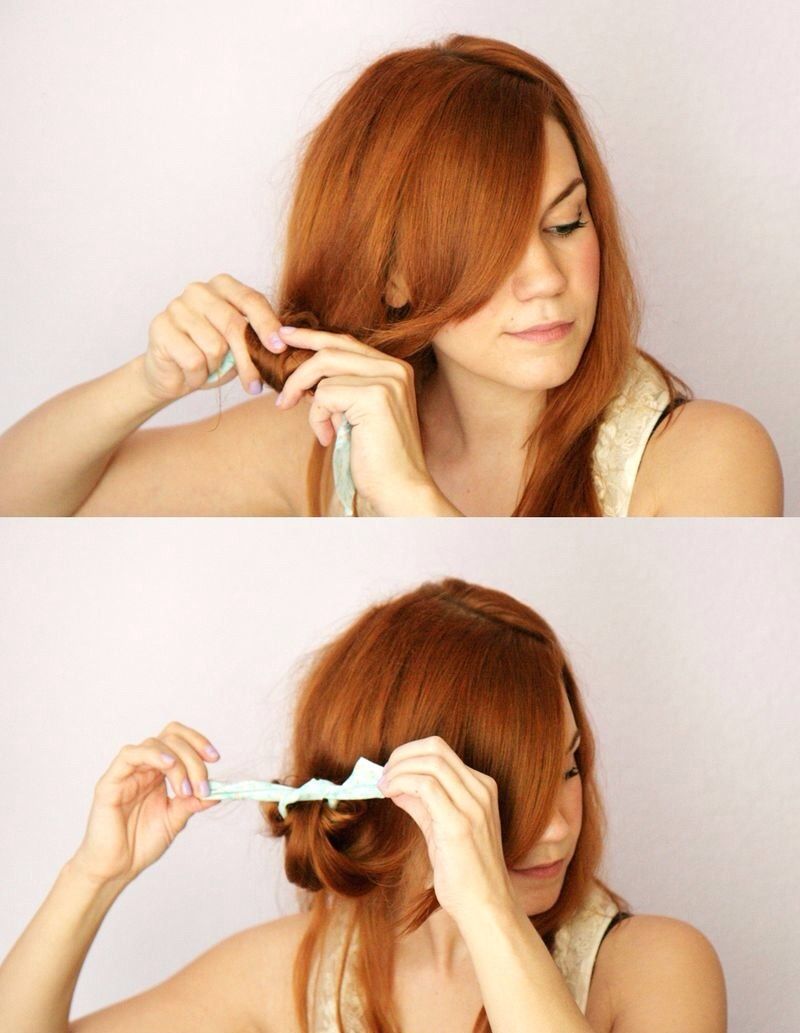 How to rag roll your hair- First, dampen the bottom of your hair (the part you plan to roll) using a spray bottle. Next, separate a section of hair and twist it around one strip of fabric. Then, tie the fabric strip in place and repeat until the entire bottom section of your hair is rolled.