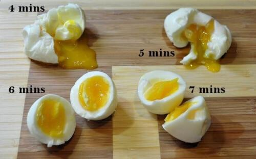 Click to see whole picture  A guide to how many mins you should boil an egg to get it to the consistency you like  Please like and follow