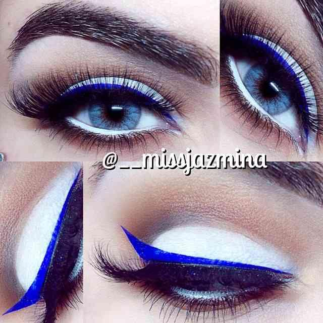 I'm a Makeup Square - I wear the same colors with slight variations. For the bold and beautiful, however, check out this white shadow/ electric blue combo!