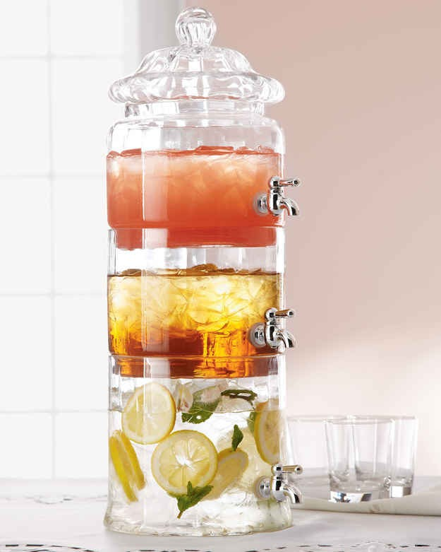Stacked drinking dispenser that's great for holding different mixed drinks when you're low on table space. Available at horchow.com for 76.00