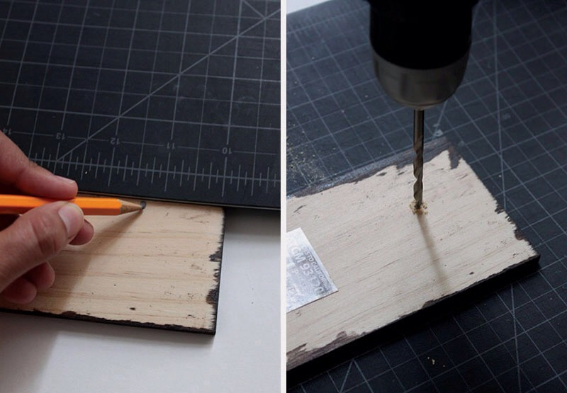 3. Using a straight edge, make two marks on either end of the wood. Drill a small hole over each of the marks. Be careful not to drill through your wood.
