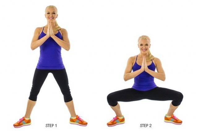 1. Plie Squat: Rather than standing with your feet hip-width apart and your toes forward, scoot your legs out a little wider and point each toe to the adjacent wall: left toes toward the left wall, right toes toward the right wall.Keep the same posture and technique as a regular squat.But, when you push back up to standing position,squeeze your inner thighs. Try to tuck your butt inwards and give a little pelvic thrust at the top to make sure you are targeting your inner thighs and outer thighs.