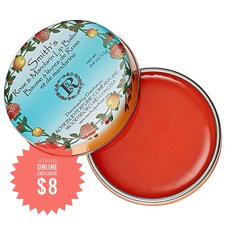 Rosebud Perfume Co. Rose + Mandarin Lip Balm | The mandarin scent mixed with the traditional rose is perfect for warmer weather. Plus, you can keep the tin when you're finished to store odds + ends in.