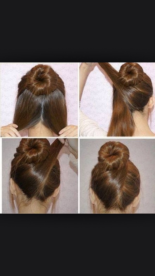 This is a very cool hairstyle. First make a normal bun hen wrap the hair left from the bottom.