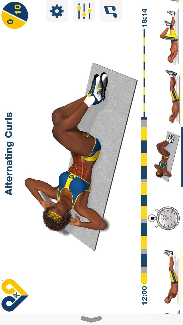 alternating curls, lay on your back & try to touch your elbow to your opposite knee; 10 reps this time