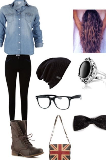 Here's an example of an outfit put together:  geeky hipster look. Ray bans are THE hipster glasses😏I'm not too big of a fan of beanies, but to be hipster you need to only care about how you look to yourself..no one else!