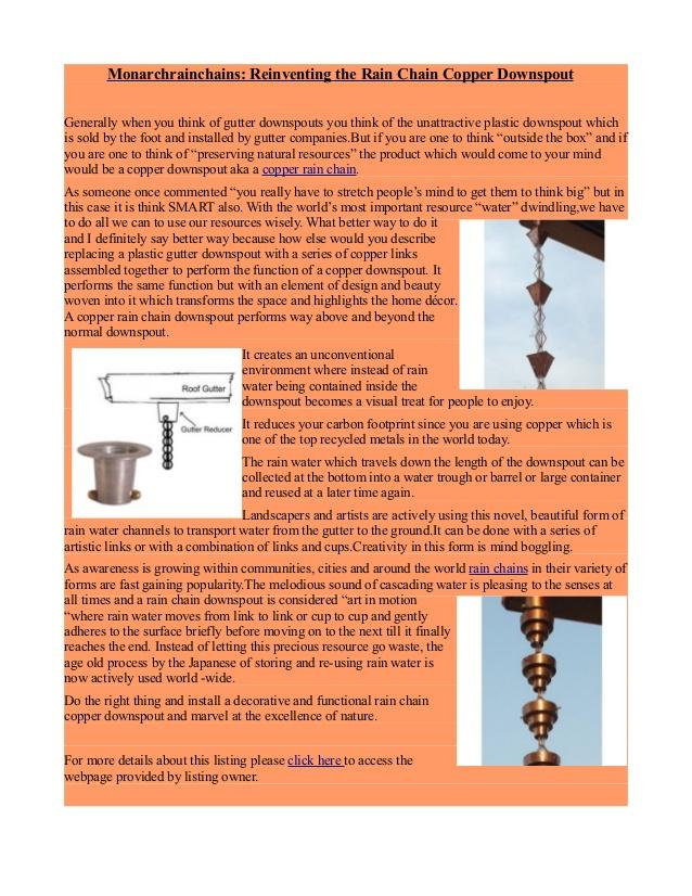 Monarchrainchains.com provide unique look with amazing designs of rain chains, copper rain chains, gutter rain chain, aluminum rain chains accessories as an alternative to traditional metal. Offer the highest quality with the best customer service in CA  USA .