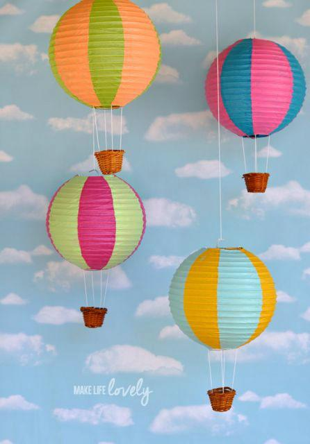 Want a really fun idea for a dreamer child? Try this DIY paper lantern hot air balloons for Laura at 'Make Life Lovely'. What a cool idea for a project! Inexpensive and pretty easy with her tutorial. Love the carefree theme!