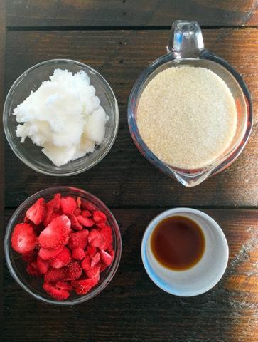 Ingredients •1 cup Sugar •1 cup Freeze-Dried Strawberries •¾ cup Organic Virgin Coconut Oil (room temperature) •1 tbsp. Vanilla Extract •1 mason jar