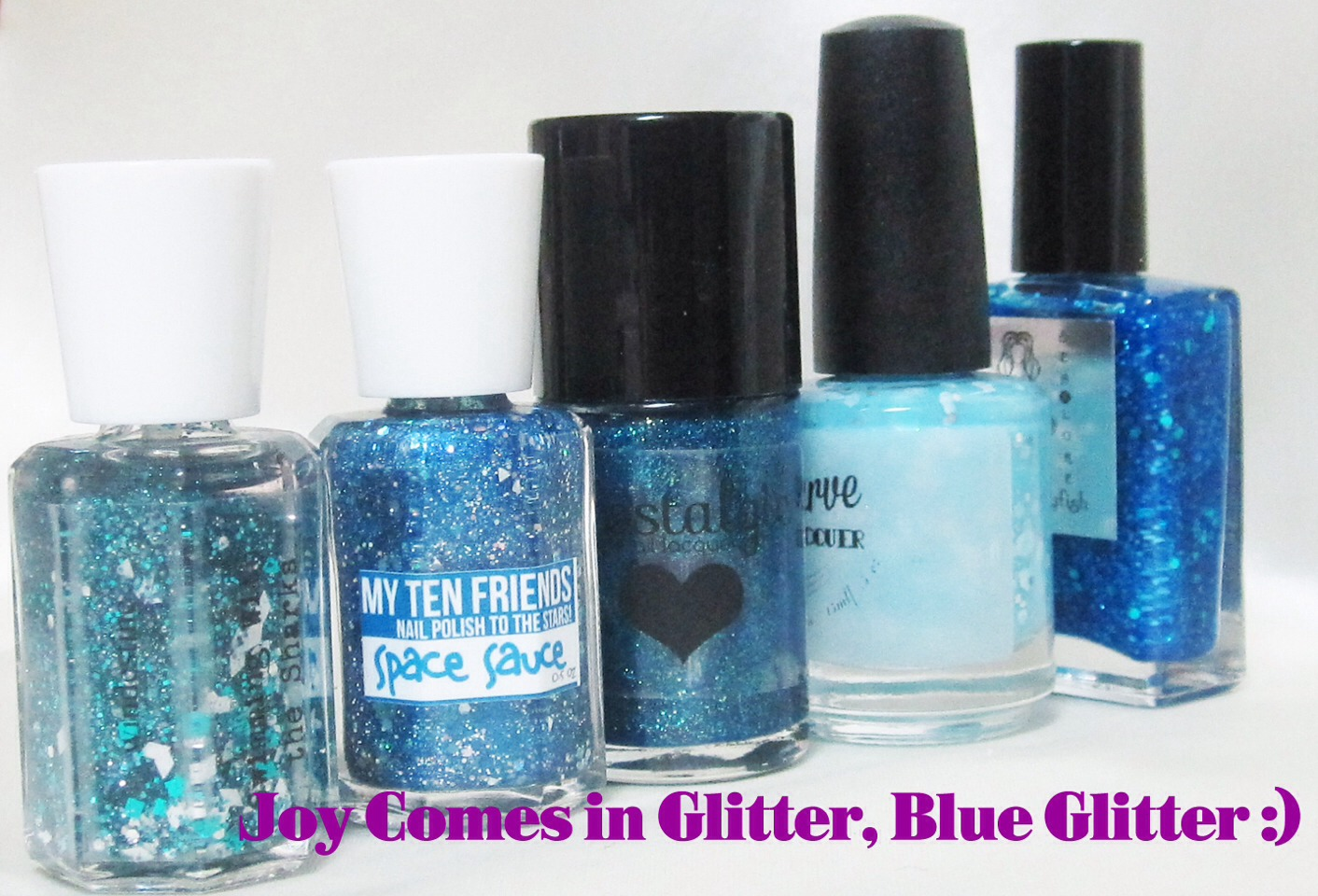 Then get any blue nail polish and dip the sponge in it. Then blot the blue sponge on your nails!