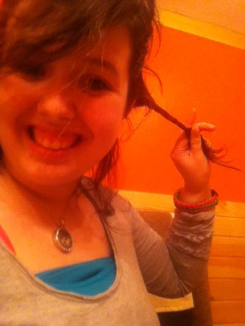 Put hair half up then twist hair