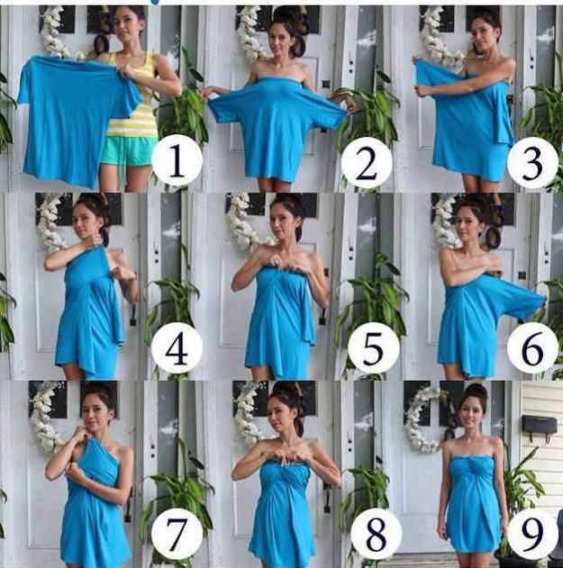 15. Make a dress out of a T shirt 👚👉👗 Instructions above👆🙈😍
