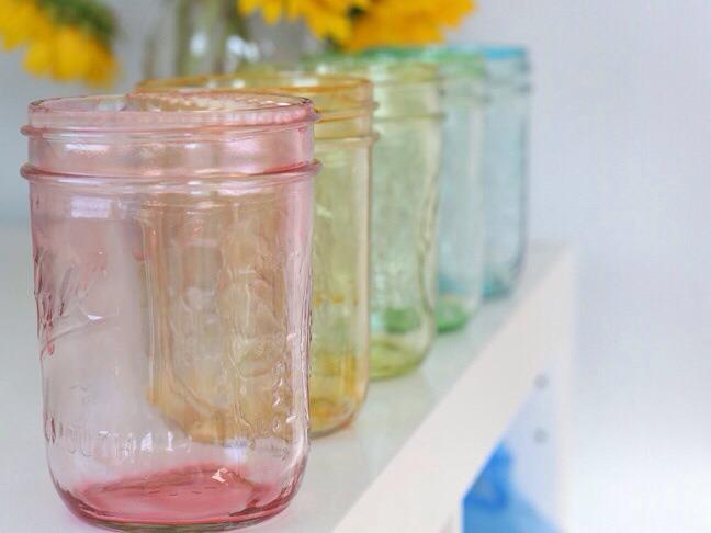 Mod Podge colored jars