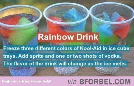 The ice cubes melt and turn the drink into different colors.  Please like and share!