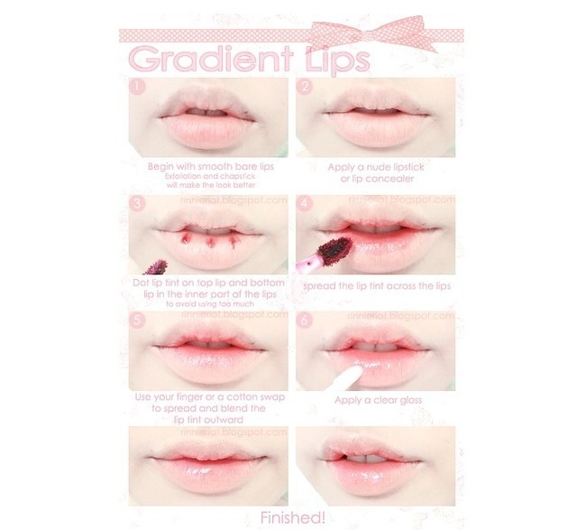 The lips are simple! First use a concealer on your lips Then use a lipstick or lip stain and dab some on the center of your lips.  And last is put a lipsgloss to add shine!! 💄