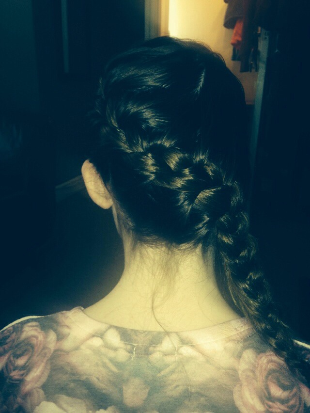 First do a French braid in your hair like this
