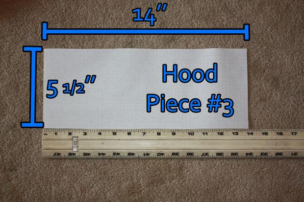 All of these hood pieces are not necessary. You can always cut two squares that cover your head  and sew into a hood.