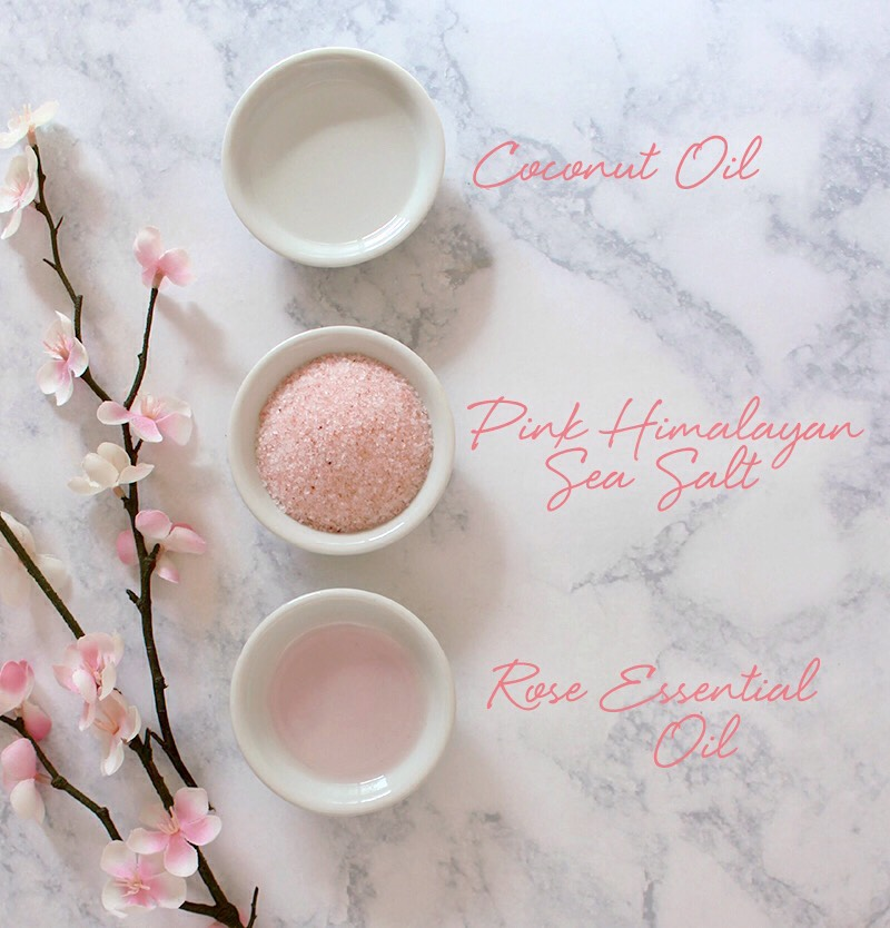 INGREDIENTS   (+)1 tbsp room temperature COCONUT OIL (+)2 tbspfinely ground PINKHIMALAYAN SALTor SEA SALT (+)3-4 drops ROSE ESSENTIAL OIL INSTRUCTIONS  Simply whiskthese 3 ingredients together with a fork for a ready-to-use scrub! Use on hands, feet, arms, + legs. Store leftovers in an airtight container.