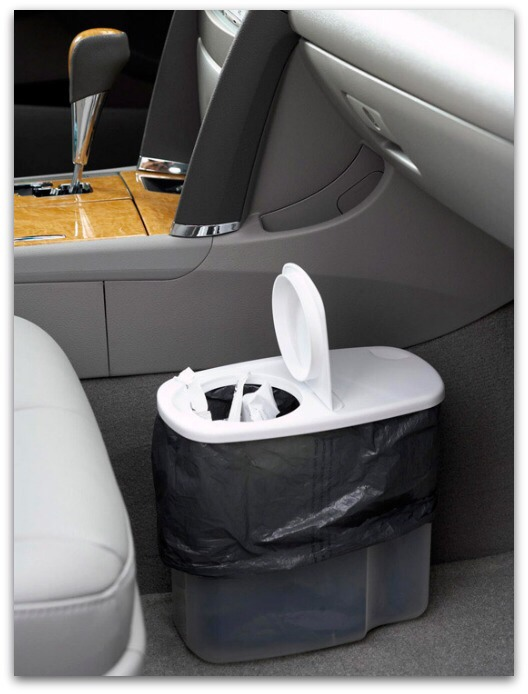 Keep Your Car Tidy, Too Convert a plastic cereal dispenser into a trash receptacle for your car. Fill with refuse and recyclables while you're driving, then sort or dispose of materials when you return home.