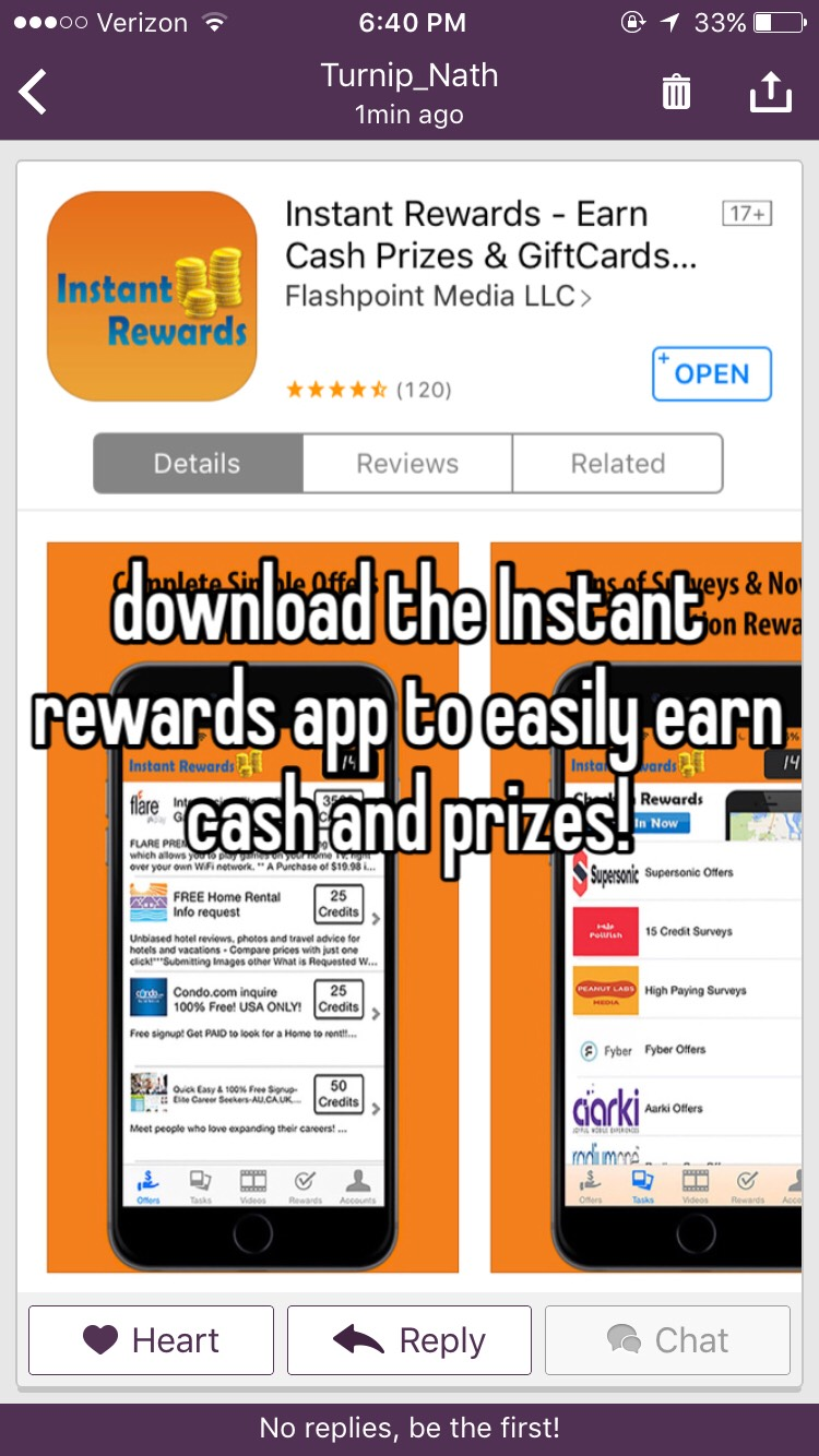 Download the app Instant Rewards today for easy money quickly!