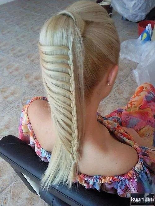 Just a simple lace braid in a high pony tail