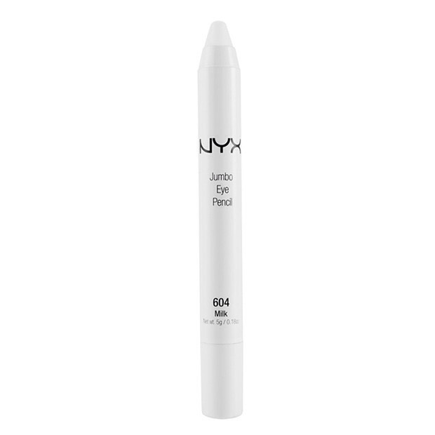 nyx white eye pencil is perfect your your bottom water line making you look awake and your eyes pop and also some fancy dots on your forehead because your messing with makeup in your room and want to be an alien / cochlea goddess