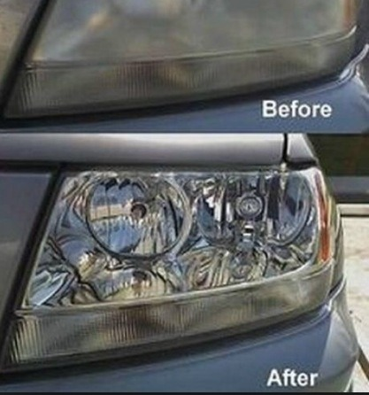 Use toothpaste to clear up hazy car headlights!!!