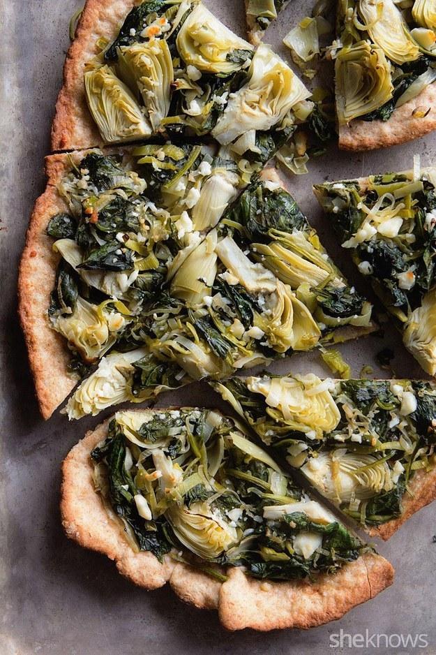 27. Thin Crust Spinach Artichoke Whole Wheat Pizza