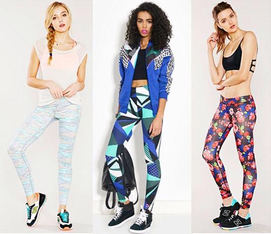 Pastel Camouflage Leggings, PATAGONIA, $44; Blue Graphic Print Leggings, PUMA, $50; Floral Leggings, WITHOUT WALLS, $64