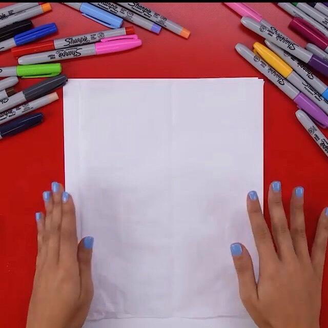 Regular paper under tissue paper in case markers bleed through
