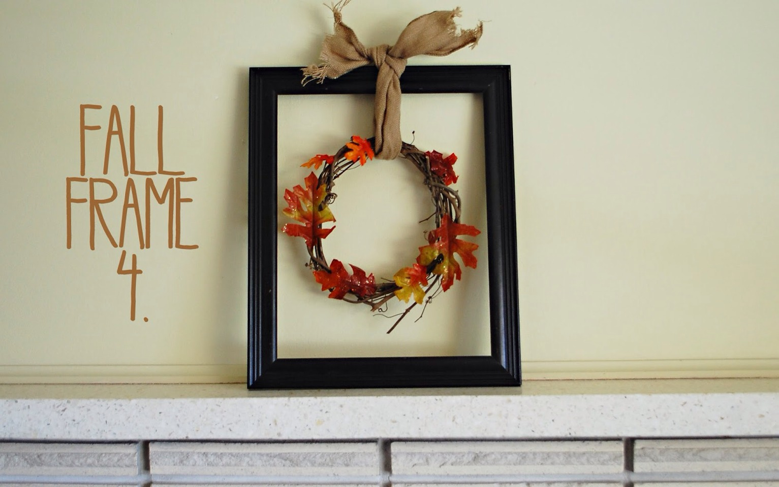 Supplies: large wreath, old brown scarf, empty frame, (optional)>black or brown spray paint. how to: if you don't like the color of your frame you can spray-painte with a black or brown spray paint. take ur wreath and center in the middle of the frame when you have it centered use a scarf to tie off