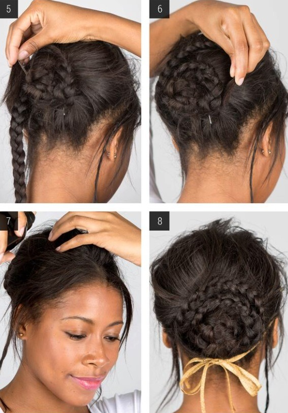 5. Wind the lower right braid tightly around the first braid. Do this counterclockwise and pin. 6. Take the lower left braid, wrap it around the braided bun clockwise, and pin. 7. Pull out some face-framing pieces of hair. Lock your look with hair spray. 8. Add a bejeweled circlet for extra framing.