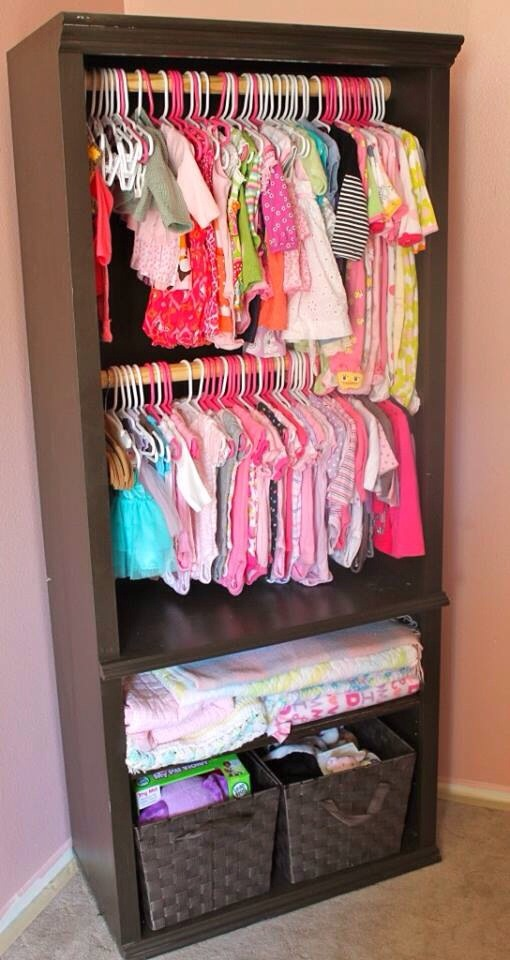 Turn an old book shelf in to an extra closet! DIY... Only a few things needed for this idea.