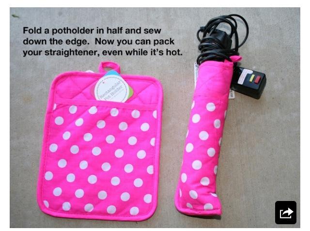 Make a travel flat iron holder out of a pot holder