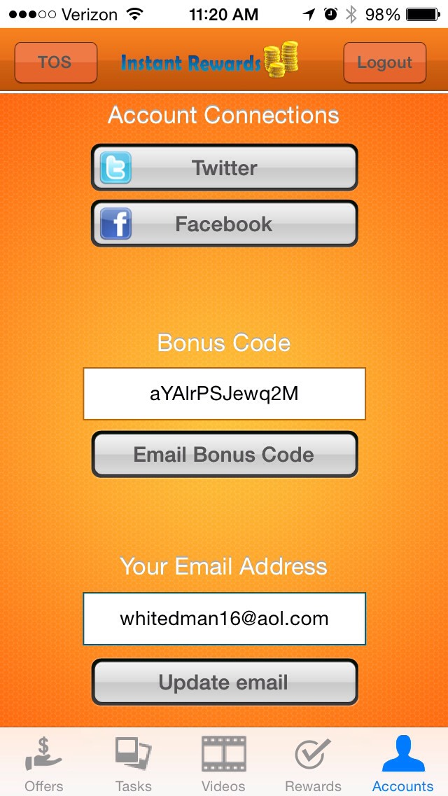 Use this bonus code when you download the app to give both of us instant money.