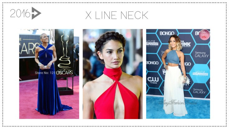 2016: The X Line NeckFor 2016, X will mark the spot in fashion – on your neck that is! Look for lots of X necklines to dominate women's wear.