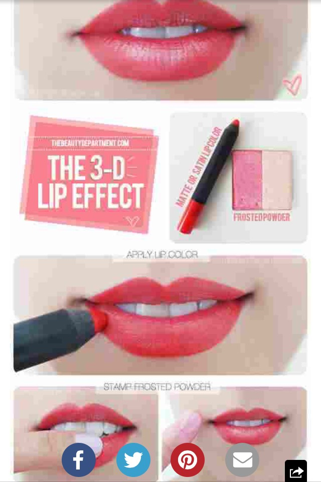 Make your lips PPP by using a bright colored eyeshadow or darker