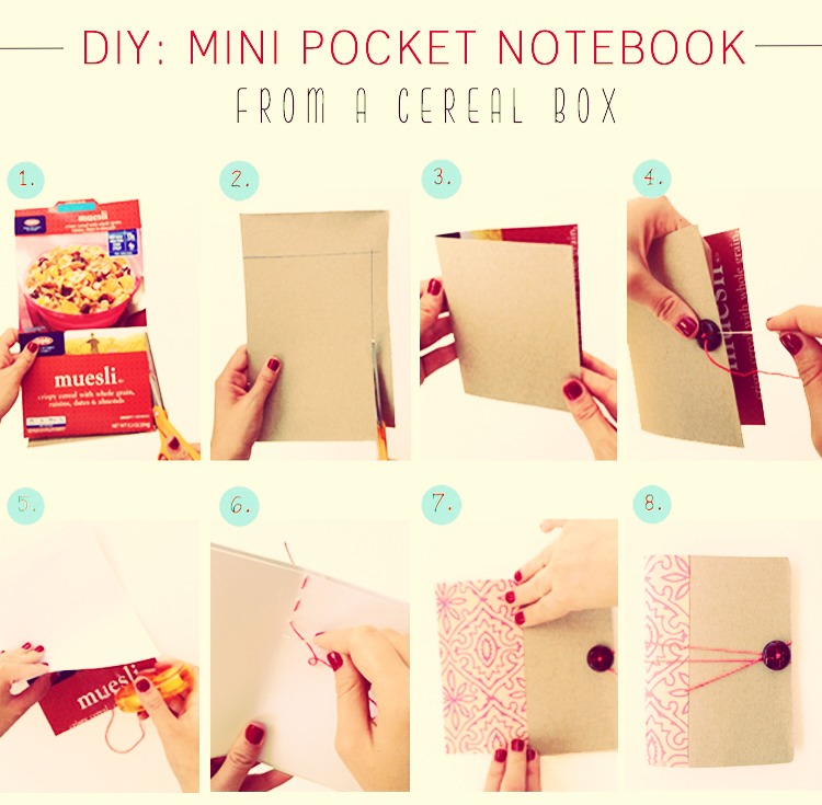 Musely excellect and fashionable pocket notebook make from old cereal box httpwww ccuart