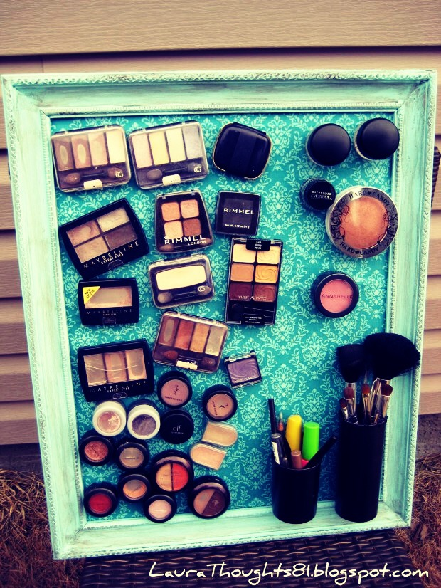 You can attach magnets to your makeup, and store them on a magnetic board!!