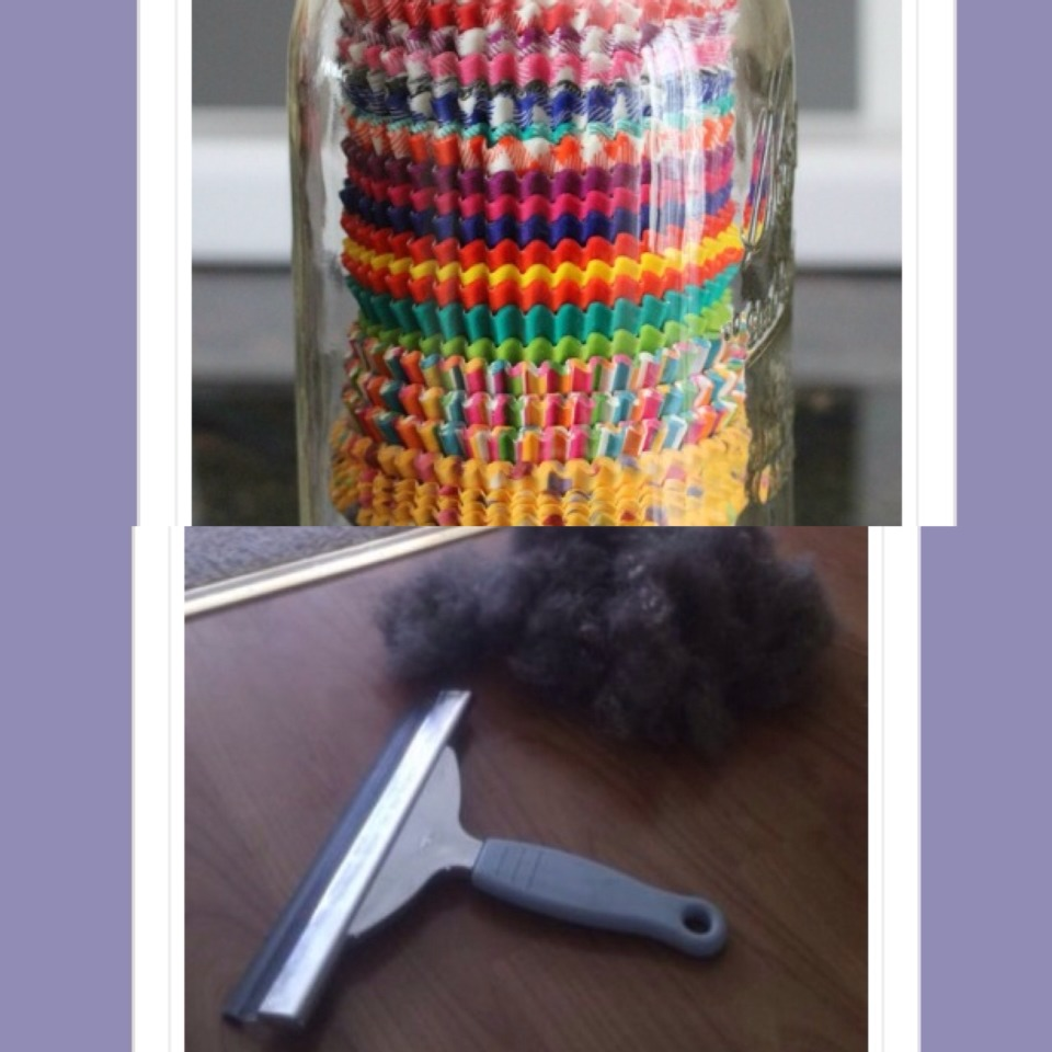 19. Store cupcake and muffin cases in a mason jar  20. Use a squeegee to remove pet hair from furniture and carpets