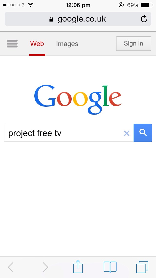 """Type """"project free tv"""" into google"""