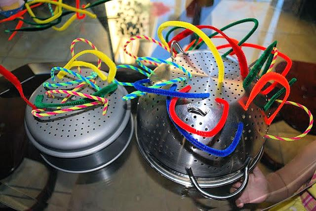Here is a quick idea for fine motor skills that uses something most everyone has - a colander!  You will also need some pipe cleaners, which in my opinion are also something everyone should have. This  fine motor skills activity takes no time to set up.