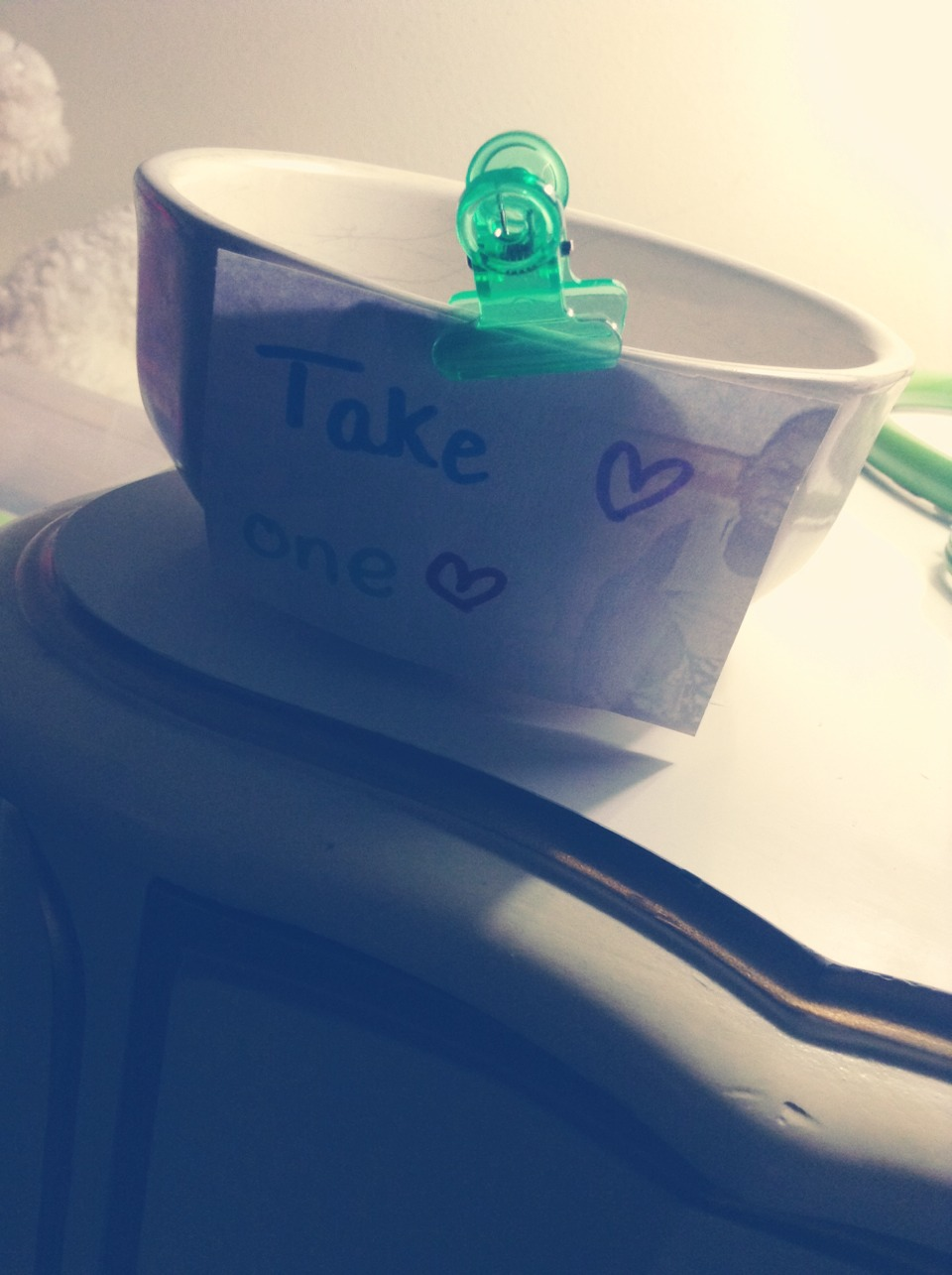Use a bowl and some scrap paper to make a take one ♡ bowl. You can tape it or clip it on. This can hold gum candy or whatever you want