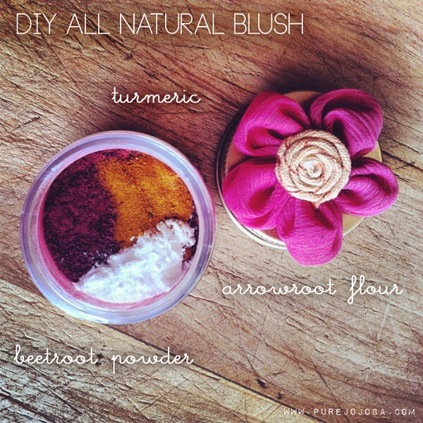 BLUSH | 3 ingredients is all you need to create a plethora of blush colors! Beetroot powder is essential to give it that rosy color, + just a pinch of turmeric will turn any pink into a peach. Add the arrowroot to determine how light you want it. Ok, so believe it or not, I like to start off with my blush. + here's why. I tried + tried + tried applying this blush with just a brush, but to no avail. It would just fall off my face + leave no color. So I decided to apply it as I do my lip stain.