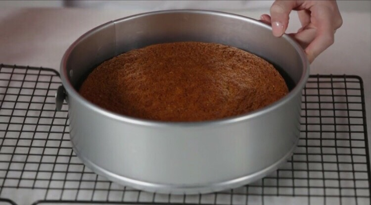 Runa knife around the edge of the pan and gently remove the side ring. Let cool completely.Ifdesired,remove the cake from the pan bottom by gently sliding alarge,wide spatula between thecake and the parchment paper.Carefully transfer the cake to a serving platter.