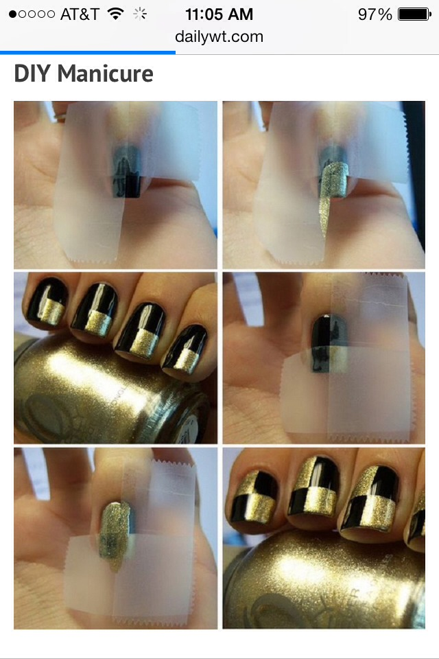 All you'll need is the photo above, tape, and 2 types of your favorite nail polish.