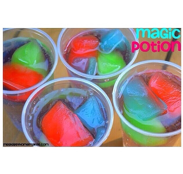 Freeze Kool-Aid in ice trays to create colored ice.. Another tip is to put them into sprite😍