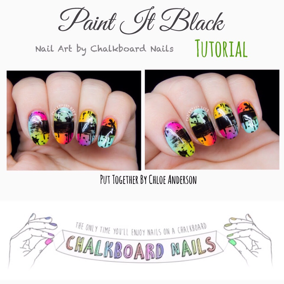 Tutorial found HERE | http://www.chalkboardnails.com/2015/09/paint-it-black.html?m=1