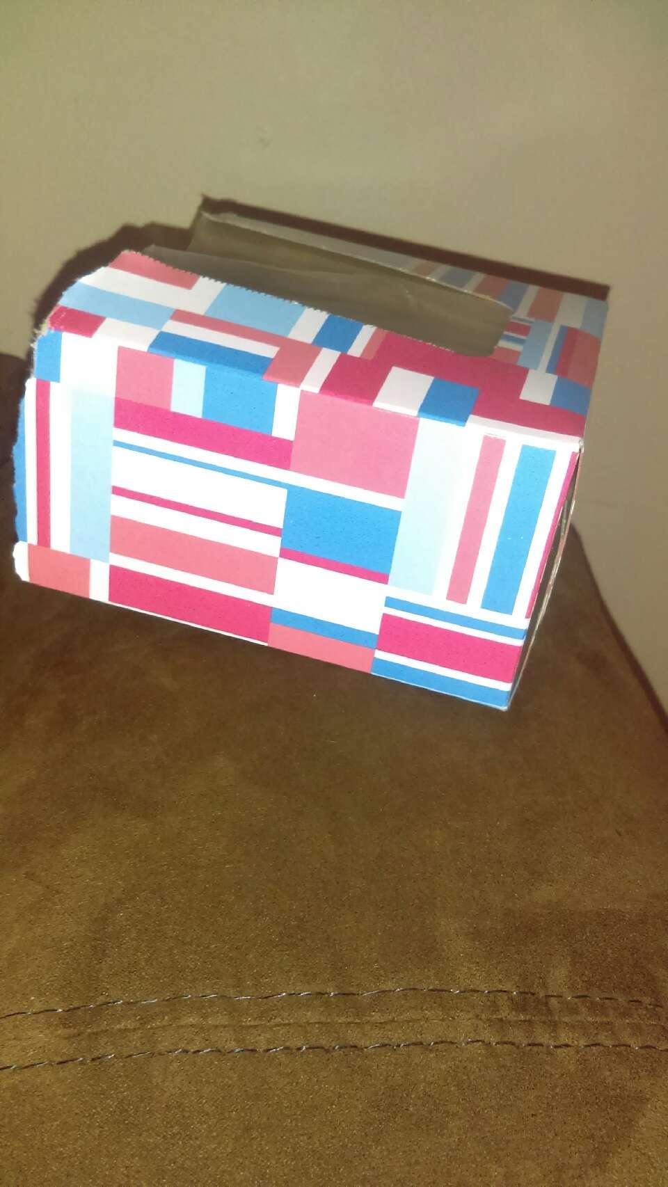 Cut the tissue box in half