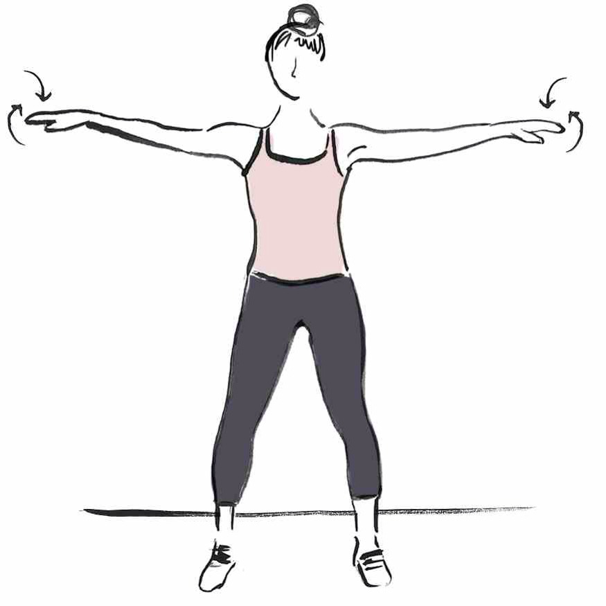 STRAIGHT ARM ROTATIONS Standing, rotate both arms around the shoulder joint: forward for 10 seconds and then backwards for 10 seconds.